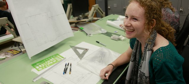 LHS student Erica Hernly is following in the footsteps of her architect father by taking an architecture class at LHS.