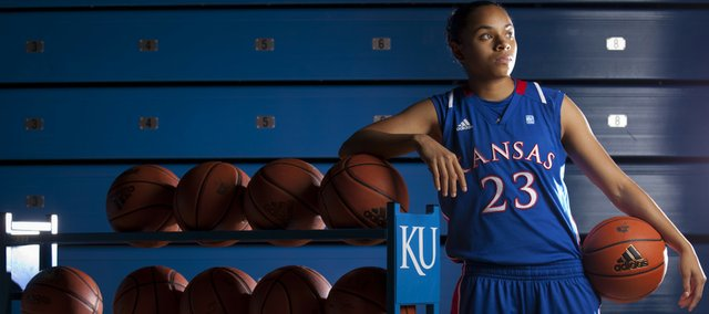 Kansas guard Angel Goodrich poses for a picture during the Jayhawks' Media Day on Monday at Allen Fieldhouse. After rehabbing from surgeries to repair torn anterior cruciate ligaments in both knees, Goodrich is eager for the season to begin.