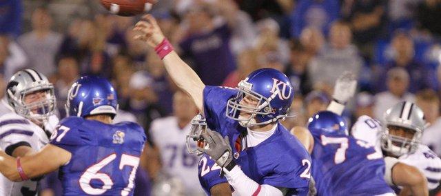 Kansas quarterback Jordan Webb throws against the Kansas State defense during the third quarter, Thursday, Oct. 14, 2010 at Kivisto Field.