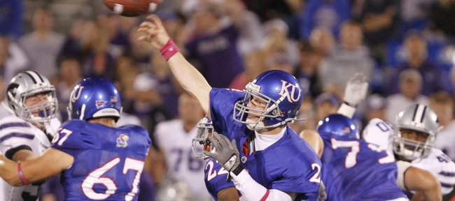 Kansas quarterback Jordan Webb throws against the Kansas State defense during the third quarter, Thursday, Oct. 14, 2010 at Kivisto Field.
