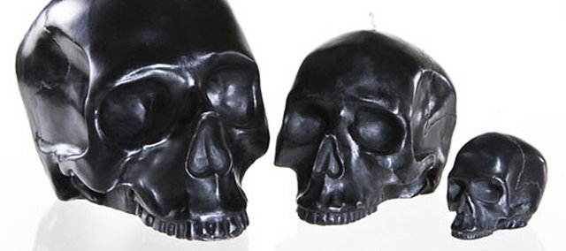 Ebony skull candles made by Modern Alchemy.