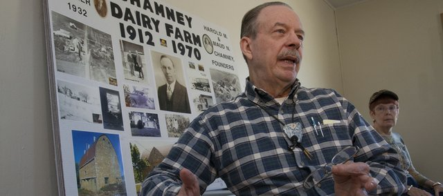 Cliff Chamney talks about what his life was like when he was younger and working on his grandfather's farm, Chamney Dairy Farm. On Friday, family members came together for a reunion at the old farmstead, which was acquired by KU Endowment in 1963.