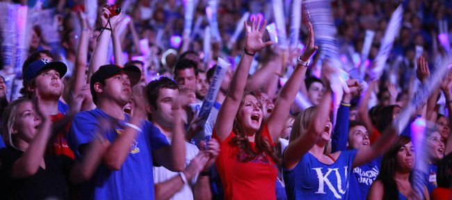 Lights flash throughout the student section as basketball fever sets in during Late Night in the Phog, Friday, Oct. 15, 2010.