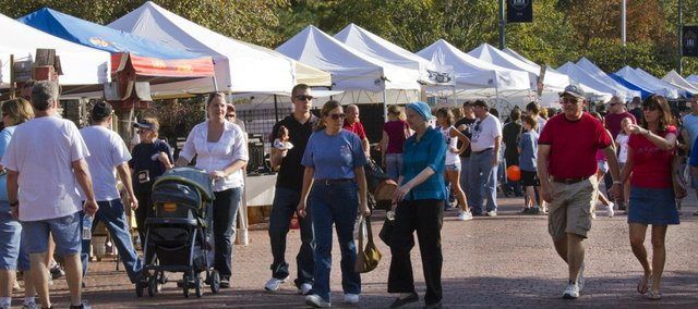 Crowds and vendor tents lined Eighth Street in Baldwin City on Saturday for the Maple Leaf Festival in Baldwin City.
