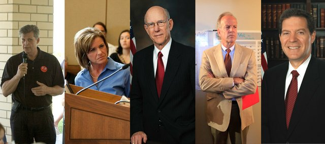 Kansas Republicans, from left, Todd Tiahrt, Lynn Jenkins, Pat Roberts, Jerry Moran and Sam Brownback.