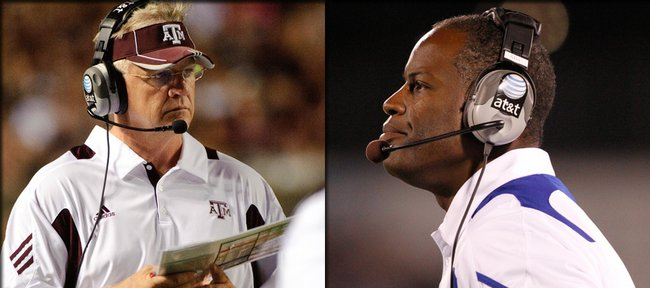 Texas A&M coach Mike Sherman watches from the sidelines in this Sept. 4 file photo in College Station, Texas. Sherman and Kansas University coach Turner Gill are familiar with one another from their days on the sidelines in 2005 with the Green Bay Packers. Kansas university coach Turner Gill watches from the sidelines Thursday at Memorial Stadium. Gill shares NFL ties with Texas A&M coach Mike Sherman, whose Aggies will visit Lawrence for a Saturday battle at KU.