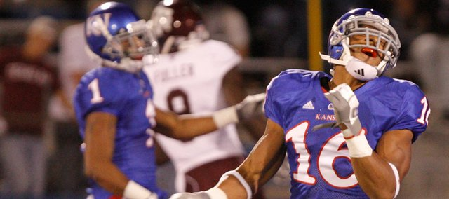 Kansas cornerback Chris Harris throws his fist in frustration after the Jayhawks defense gives up a touchdown to Texas A&M receiver Jeff Fuller during the third quarter Saturday, Oct. 23, 2010 at Kivisto Field.