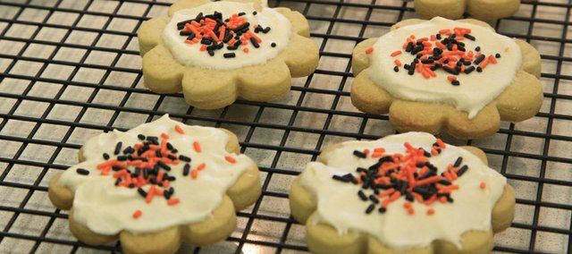 One of the biggest challenge in diabetic baking is finding a substitute for powdered sugar says Barbara Reynolds, a Lawrence resident who has been baking diabetic treats for her husband for the 14 years since he was diagnosed. These diabetic-friendly sugar cookies are frosted using a butter cream recipe that features the sugar alcohol xylitol.