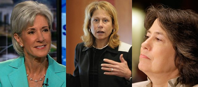 From left, Kansas University graduates Kathleen Sebelius, Cynthia Carroll and Sheila Bair were named to Forbes' list of the most powerful women in the world.