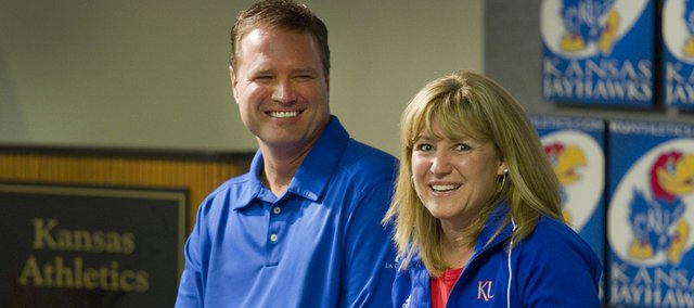 Bill and Cindy Self spoke Thursday during Ladies' Night Out with Bill Self at Allen Fieldhouse to benefit breast cancer research.