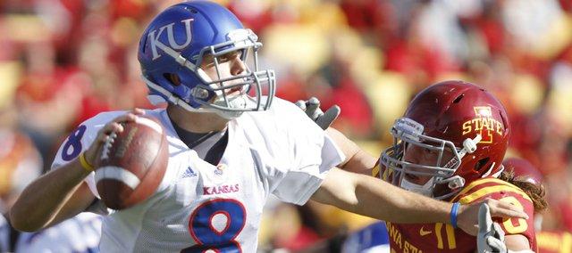 Iowa State defensive end Jacob Lattimer pressures Kansas quarterback Quinn Mecham during the third quarter Saturday, Oct. 30, 2010 at Jack Trice Stadium.