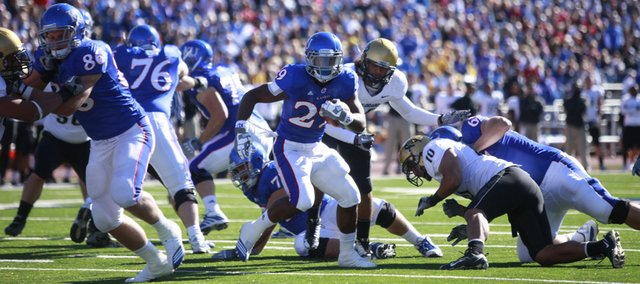 Kansas running back James Sims moves toward the goalline against Colorado during the first quarter, Saturday, Nov. 6, 2010 at Kivisto Field.