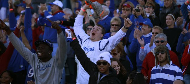 Kansas fans celebrate the Jayhawks' comeback during the fourth quarter, Saturday, Nov. 6, 2010 at Kivisto Field.
