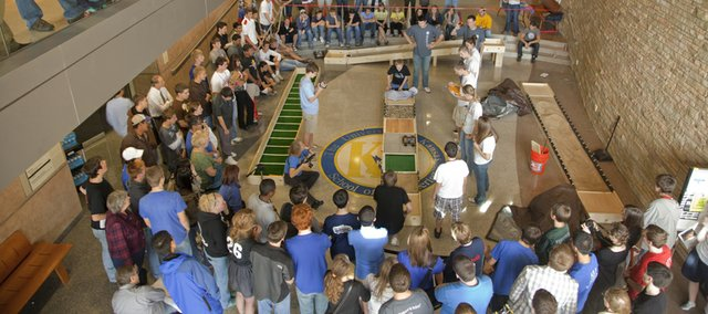 """Teams compete in the semi-final round of the KU School of Engineering's """"Claim the Terrain."""" The annual design competition included Kansas schools with teams who designed a small vehicle to traverse several courses at KU's Eaton Hall."""