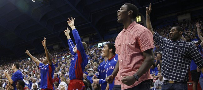 Kansas guard Josh Selby comes off the bench to celebrate a three pointer by Travis Releford during the second half, Tuesday, Nov. 9, 2010 at Allen Fieldhouse.