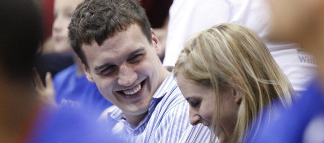 Among the faces in the crowd Tuesday night were former Kansas center Sasha Kaun and his wife, Taylor Blue Kaun.