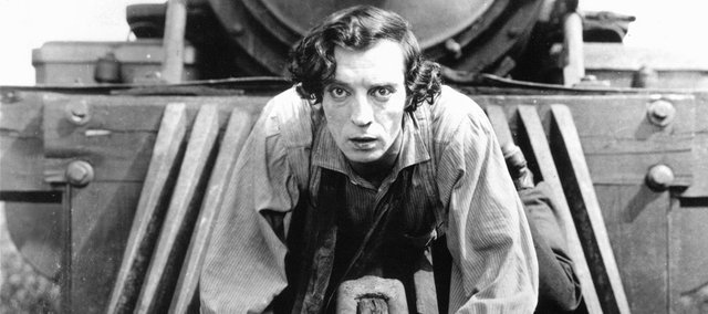 Kansas-born comedian Buster Keaton goes for a train ride in &quot;The General.&quot;