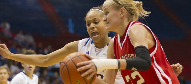 Kansas University's Tania Jackson, back, hounds South Dakota's Amber Hegge. Jackson scored a team-high 13 points in the Jayhawks' 73-40, season-opening victory on Sunday at Allen Fieldhouse.