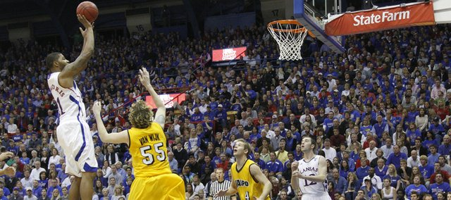 Kansas forward Markieff Morris puts up a jumper over Valparaiso forward Kevin Van Wijk during the second half, Monday, Nov. 15, 2010 at Allen Fieldhouse.