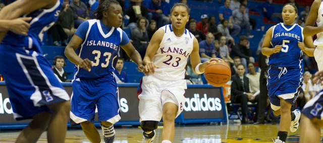 Kansas University guard Angel Goodrich brings the ball up the court while being defended by Texas A&M Corpus Christi guard Taryn Gregory during the Jayhawks' game against the Islanders Wednesday night in Allen Fieldhouse.