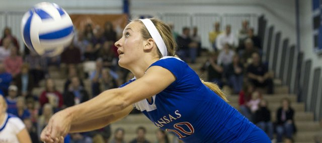 Kansas University's Brianne Riley saves the ball during the Jayhawks' volleyball match against Baylor Wednesday evening in the Horejsi Center.