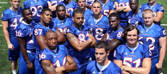 Twenty Kansas University seniors will make their final Memorial Stadium appearances today. They are: Drew Dudley (49), Phillip Strozier (26), Quintin Woods (93), Bradley Dedeaux (87), Brad Thorson (76), Chris Harris (16), Tertavian Ingram (89), Angus Quigley (22), Johnathan Wilson (81), Reece Petty (3), Calvin Rubles (17), Alonso Rojas (18), Justin Springer (45), Jacob Branstetter (14), Rod Harris (85), Jake Laptad (91), Dakota Lewis (51), Olaiatan Oguntodu (44), Alex Smith (62) and Sal Capra (59).