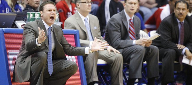 Kansas head coach Bill Self gets at his defense during the first half, Tuesday, Nov. 23, 2010 at Allen Fieldhouse.