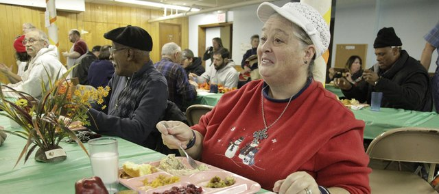 Mary Taylor was one of more than 200 people at the annual LINK Thanksgiving dinner on Thursday, Nov. 25, 2010, at the First Christian Church.