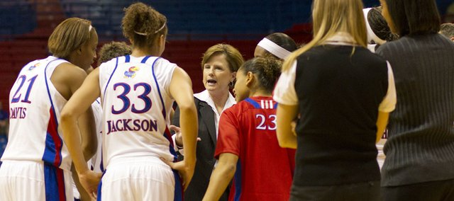Kansas University head coach Bonnie Henrickson talks to her team during a timeout in their game against Memphis Saturday, Nov. 27, 2010 at Allen Fieldhouse. The Jayhawks were too much for the Tigers, beating them 90-58.