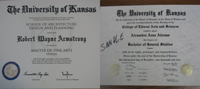 The new KU diploma design (left) will be given to graduates after nearly 30 years of using the old design (right).