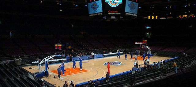 The Jayhawks warm up for the Jimmy V classic Tuesday at Madison Square Garden in this 2005 file photo. Freshman walk-on guard Niko Roberts, who lived in New York the past six years, hopes to shed some light on the city for his teammates.