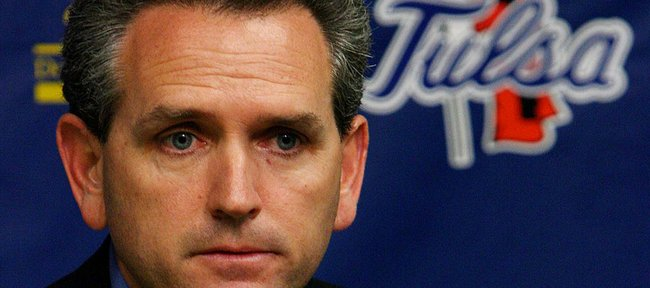 Tulsa Athletic Director Bubba Cunningham speaks to the press in this January 2006 file photo. According to sources, Cunningham will be hired as the next athletic director at Kansas University.