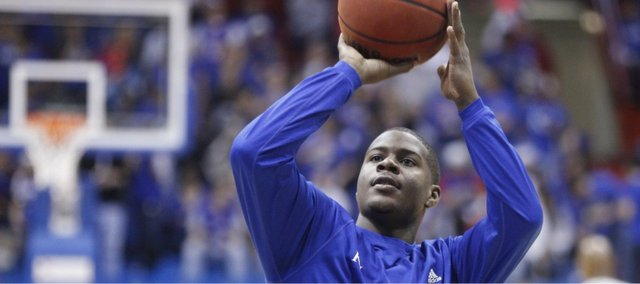 Kansas guard Josh Selby warms up prior to tipoff against USC, Saturday, Dec. 18, 2010 at Allen Fieldhouse. Selby will play his first game as a Jayhawk.