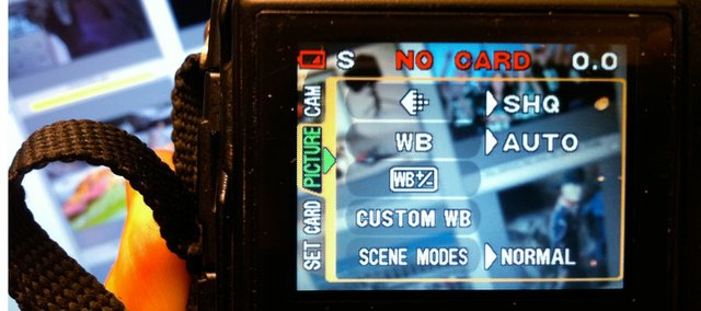 "Setting up a camera entails getting into the menu and making choices on how you want your camera to capture images. In this menu the white balance (WB) has been set to automatic and the quality to it's highest JPEG setting at ""super high quality."" The battery symbol in upper left-hand corner is notifying the owner of a dead battery. It's always wise to have a second camera battery available."