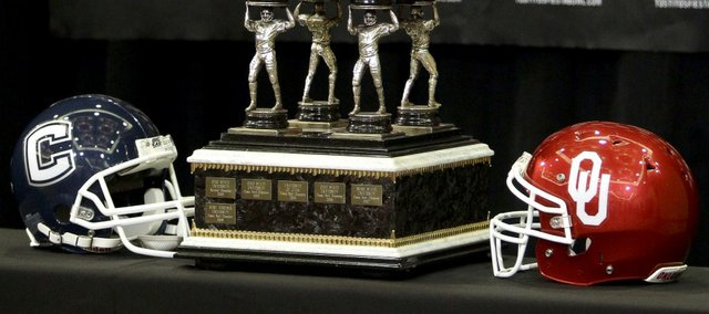 The Fiesta Bowl winners' trophy is shown Monday, Dec. 27, 2010 in Scottsdale, Ariz. Connecticut will face Oklahoma in the Fiesta Bowl on Jan 1, 2011.