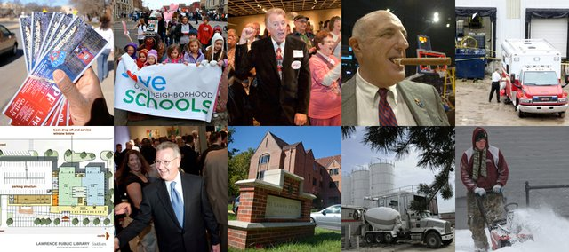 "The top 10 news stories of 2010, top row, from left to right, were the KU ticket scandal, Lawrence residents campaign to ""Save Our Neighborhood Schools,""  Republicans sweep the midterm elections, Lew Perkins retires and the death of two workers at MagnaGro following an industrial accident. Bottom row, from let to right, were passing the Library bond, two top law enforcement and court officials retire, KU's continued focus on binge drinking prevention after a student was injured at a fraternity party, the growth of the Lawrence economy as Berry Plastics, and others, plan expansions, and a whole lot of snow."