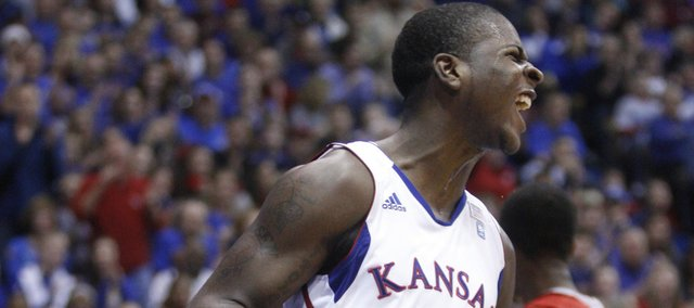 Kansas guard Josh Selby celebrates his dunk against Miami (Ohio) University during the first half, Sunday, Jan. 2, 2011 at Allen Fieldhouse.