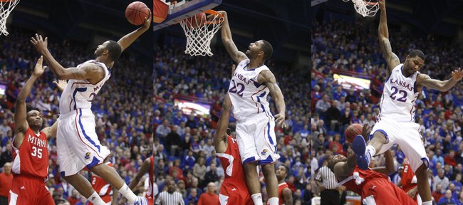 In this sequence of images, Kansas forward Marcus Morris finishes a high-flying dunk and gets the foul from Miami (Ohio) University guard Antonio Ballard during the first half, Sunday, Jan. 2, 2011 at Allen Fieldhouse.