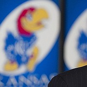Sheahon Zenger was introduced as KU's new athletic director on Monday, Jan. 3, 2011, during a press conference at Hadl Auditorium.