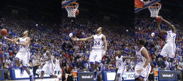 In this sequence of images, Kansas guard Travis Releford tosses an off-the-backboard pass to Elijah Johnson for the dunk against Miami (Ohio) University during the first half on Sunday, Jan. 2, 2011 at Allen Fieldhouse.