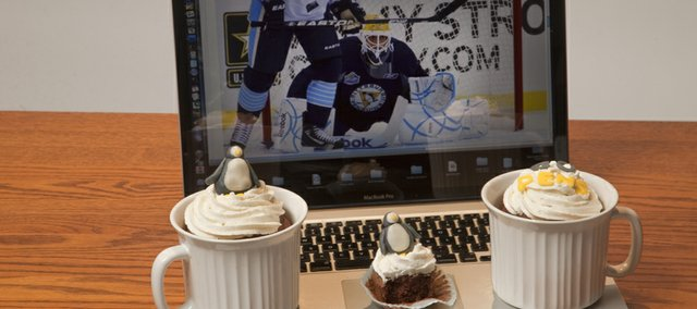 Nikki Overfelt's passion for baking and Ice hockey inspired her to create these hot chocolate cupcakes with peppermint frosting baked in the mugs.