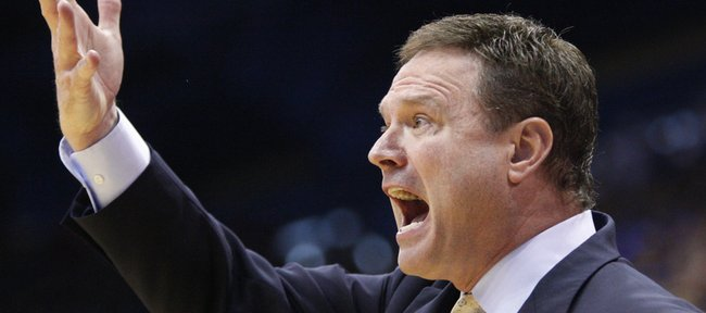 Kansas head coach Bill Self calls a play during the second half on Saturday, Jan. 15, 2011 at Allen Fieldhouse.