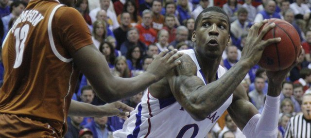 Kansas forward Thomas Robinson looks to go up against Texas forward Tristan Thompson on January 22, 2011 in Allen Fieldhouse.