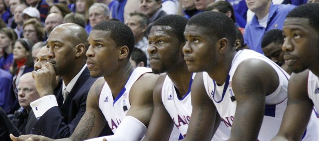 The Kansas bench watches against Texas on January 22, 2011 in Allen Fieldhouse.