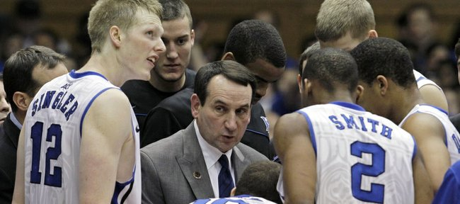 Duke coach Mike Krzyzewski talks with his team during the Blue Devils' 76-60 victory Jan. 15 against Virginia. Ranked No. 3 in the country but sure to fall after Sunday's 93-78 loss to St. John's, Duke is the early betting favorite to win the NCAA championship, but the field is so wide-open, the Devils' 3/1 odds seem a bit of a stretch.