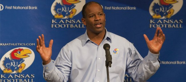 Kansas football coach Turner Gill discusses the recruiting class of 2011, which was labeled the 34th-best class in the country, according to Rivals.com. Gill announced the class in a news conference on Wednesday, Feb. 2, 2011 at Mrkonic Auditorium.