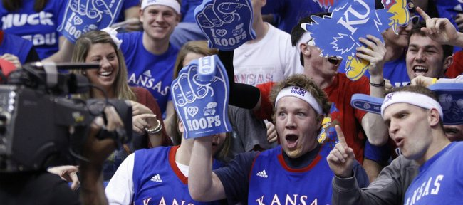 Kansas University senior Bryce Kellerman, Kansas City, Kan., and Michael Jolley, Overland Park senior, go crazy for an ESPN camera prior to tipoff against Missouri on Monday, Feb. 7, 2011 at Allen Fieldhouse.