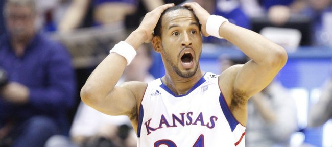 Kansas guard Travis Releford reacts after being whistled for a foul during the second half on Monday, Feb. 7, 2011 at Allen Fieldhouse.