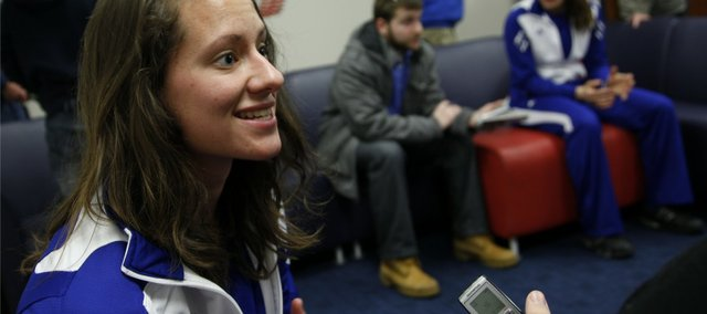 Kansas University softball player Maggie Hull talks with reporters during media day Wednesday, Feb. 9, 2011 in the player's lounge at the Wagnon Student Athletic Center.