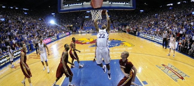 Kansas forward Marcus Morris swoops in for a jam on the Iowa State defense during the second half on Saturday, Feb. 12, 2011 at Allen Fieldhouse.